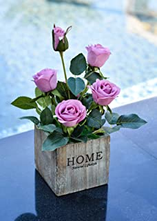 YATAI Real Touch Artificial Rose Flowers Potted Artificial Plants in Wooden Pots Small Houseplants Fake Rose Flowers for H...