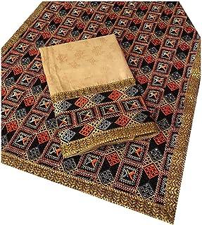 HARPREET TRENDS Women's Veer Yaara Self Print Phulkari Suit Cloth for Top & Bottom Zam Silk Unstiched Dress Materiall (Cre...