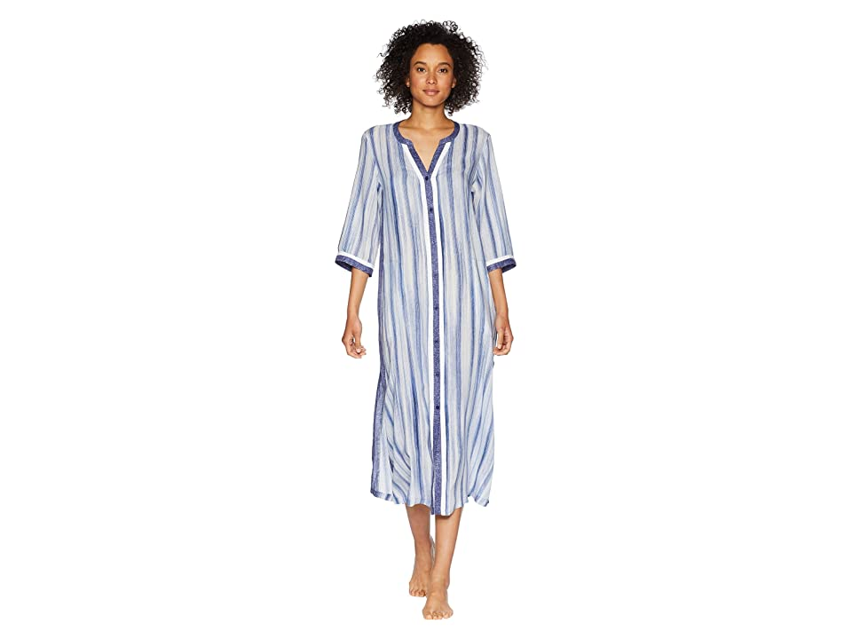 Donna Karan Striped Maxi Sleepshirt (Frosted Denim Stripe) Women