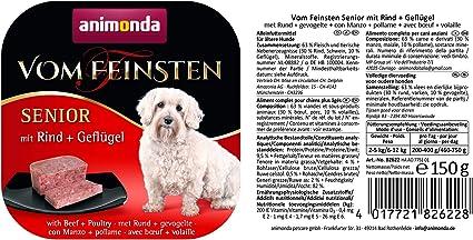 Comida para perros animonda Vom Feinsten Senior, comida húmeda para perros mayores de 7 años, con ave + cordero, 22 x 150 g