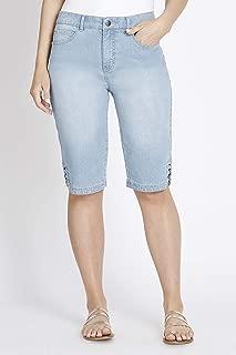 Rockmans Knee Length Ring Detail Denim Short - Womens
