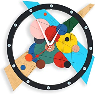 Composition Numero Uno Large Wall Clock Handcrafted perspective illusion abstract modern contemporary art style unique interior design room office decoration personalized custom made Gift
