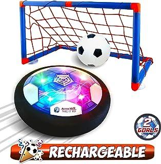 مجموعه اسباب بازی های کودکان و نوجوانان ActiveMVP با قابلیت تعویض قابل حمل با Hover Soccer Ball با 2 گل ، چراغ داخل سالن روشن کردن سرگرم کننده بازی هوایی فوتبال - بدون باتری مورد نیاز ، کیفیت پلاستیک ABS بهبود یافته قوی - پسران دختران سن 3 4 5 6 7 8 9 11+