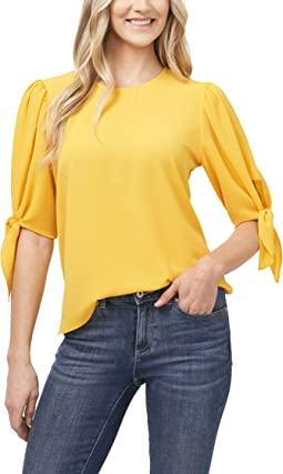 Short Sleeve Puff Sleeve Blouse with Sweetheart Neckline