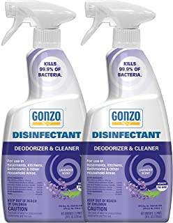 Sponsored Ad - Gonzo Disinfectant Spray & All Purpose Cleaner - 24 Ounce (2 Pack) Lavender - Odor Eliminator, Disinfectant...
