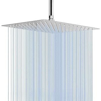 "Square 12/"" Stainless Steel Chrome Overhead Bathroom Water Rain Shower Head 300mm"