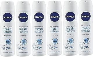 Nivea Women Deodorant Spray, Fresh Natural, 150 mL / 5.07 oz, Pack of 6