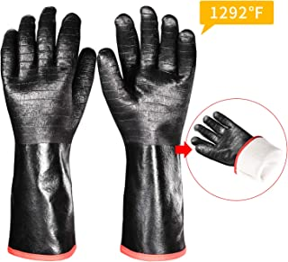 iHarbort long Protective Grill Gloves, 1 Pair, 1292? Heat Resistant BBQ Oven Gloves, Fire&Oil Resistant Waterproof Kitchen Mitts Potholders For Cooking, Grill, Barbecue, Frying, Baking, 14 Inch / 35cm