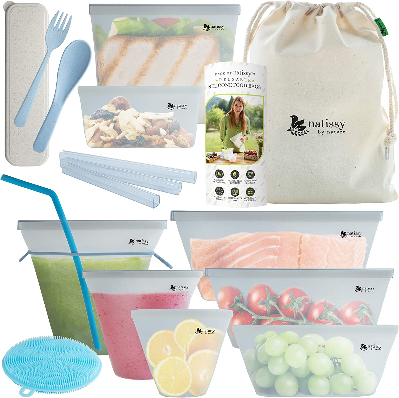 Bolsas de Silicona Reutilizables para Almacenamiento de Alimentos, 8 Piezas Bolsas Congelar Conservación Ecológicas sin BPA, Envases de Silicona Reutilizables, Bolsas Zip de Congelacion; Silicone Bags