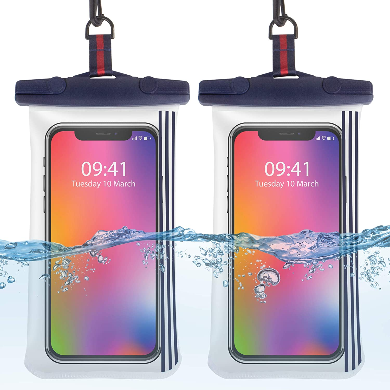 2 Pack Universal Waterproof 2Color Phone Case Underwater Clear Pouch Dry Bag Outdoor Beach Swimming for iPhone Galaxy (Blue)