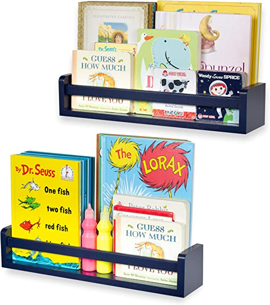Brightmaison Children S Wall Shelves 2 Shelf Set Wood Bookcase Toy Game CDs Storage Display Organizer Bookshelves For Kids Room Ships Fully Assembled Navy Blue