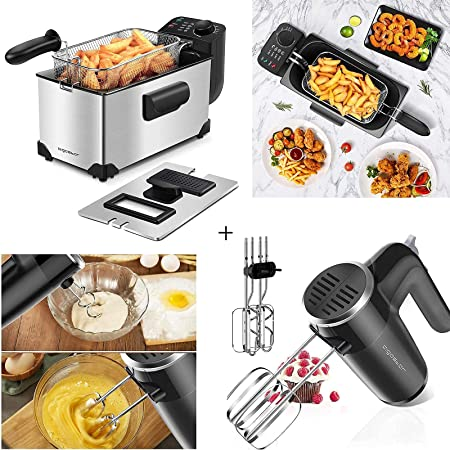 Aigostar Deep Fryer, 3 Liters Capacity Oil Frying Pot with View Window, 1650W Ushas, 6 Speed Hand Mixer Electric 250W Powerful Mixers for Easy Whipping Mixing Cookies, Dough, Cakes, Batters.