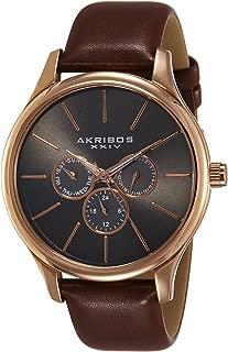 Akribos Xxiv Men's Quartz Watch, Analog Display and Leather Strap Ak870Rg, Brown Band