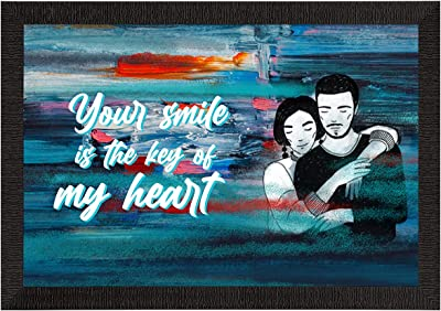 eCraftIndia Your Smile is The Key of My Heart Love Theme Quote Satin Matt Texture UV Art Painting