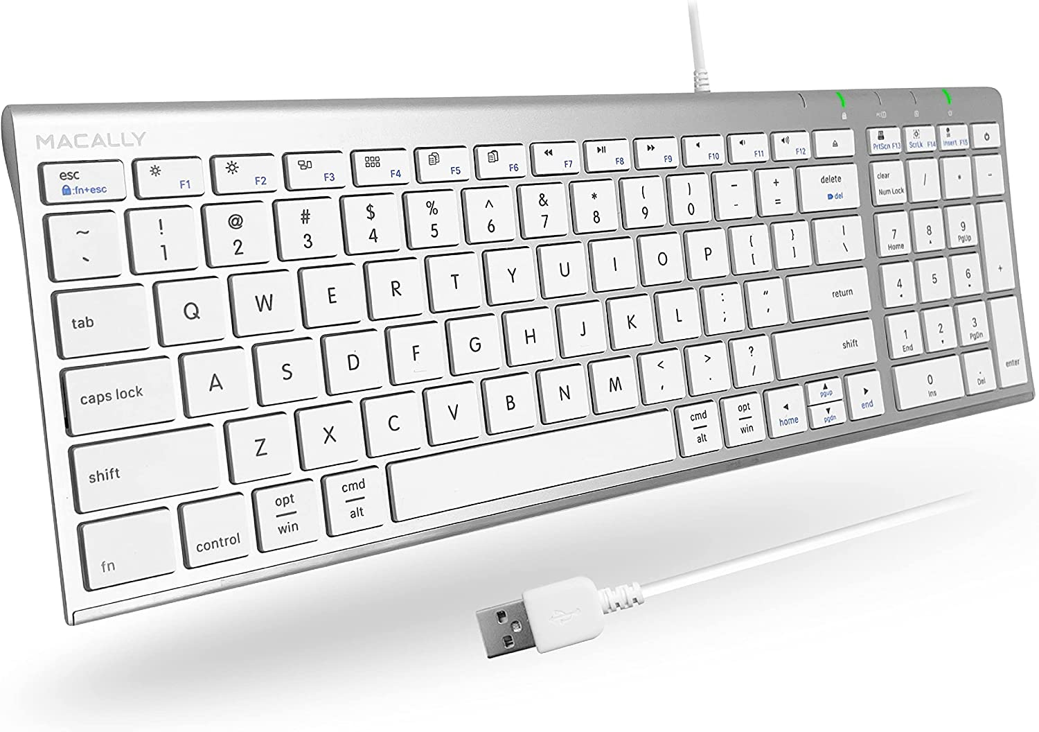 Macally Small USB Keyboard Wired for Mac and Windows PC - Space Saving 2-Zone Layout - Full Size Compact Keyboard for Laptop with Slim Steel Body and 5ft USB Cable - Compatible Apple Keyboard Small