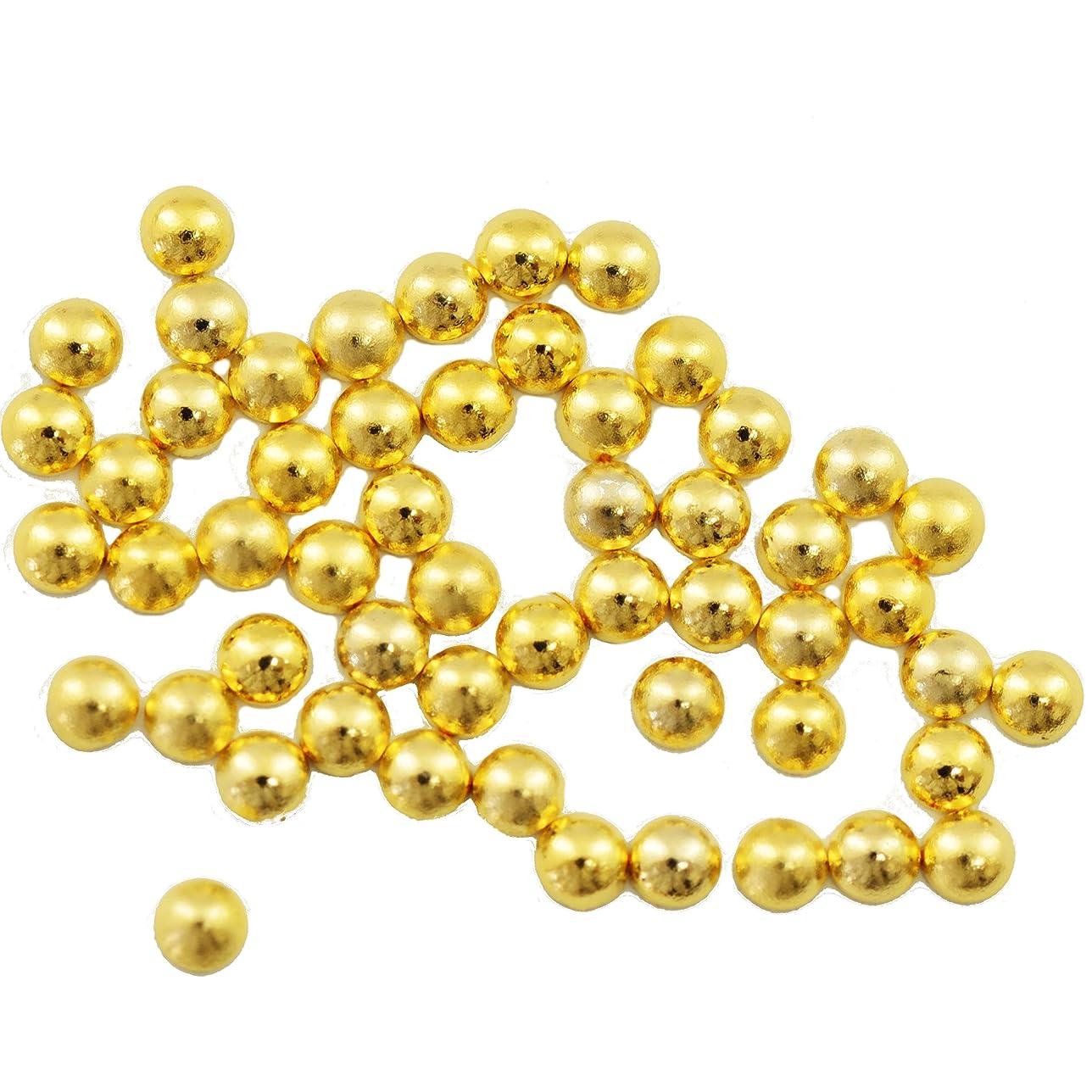 ドールしばしば百科事典Buddy Style 丸 スタッズ メタルパーツ ネイルパーツ デコパーツ ゴールド2mm 50個入り