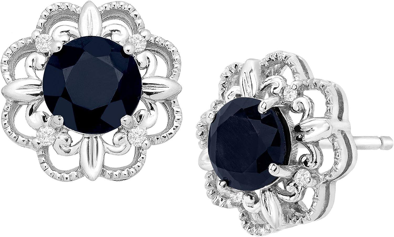 1 1/3 ct Natural Kanchanaburi Sapphire Stud Earrings with Diamonds in 10K White Gold