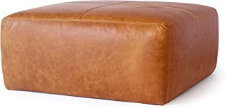 Poly and Bark Sequoia Modern Leather Ottoman Pouf in Cognac Tan/Brown