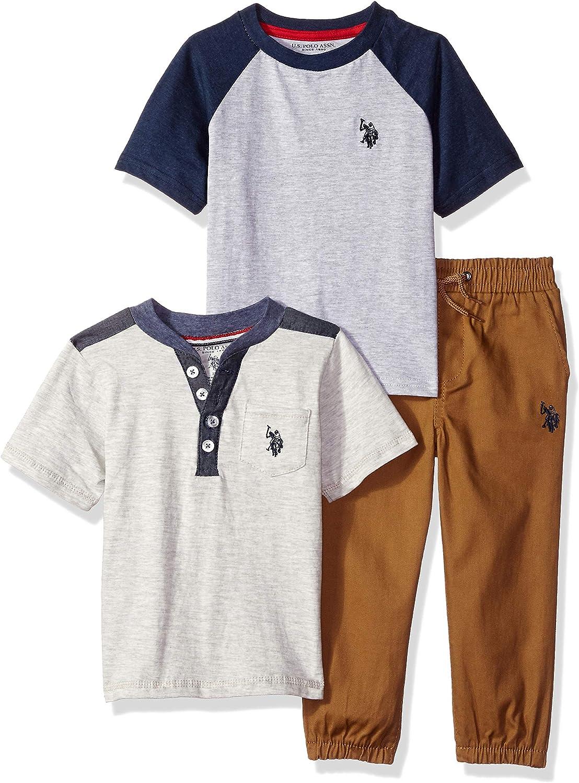 U.S Polo Assn Boys 3-Piece Fashion Knit Top and Pant Set