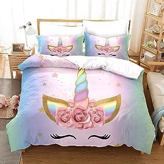 QIAOJIN Parure de lit pour enfant - Motif licorne arc-en-ciel - 3D - En microfibre - Housse de couette et taie d'oreiller...