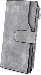comprar comparacion UTO - Cartera RFID Larga de Mujer Monedero Billetera con Cremallera Gran Capacidad para Tarjetas Gris