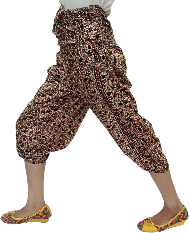 Asian Floral Printed Gathered Smocked Waist Adjustable String Rayon Capri Pant
