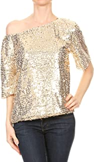 Womens Short Sleeve One Shoulder Sexy Sequin Top Blouse
