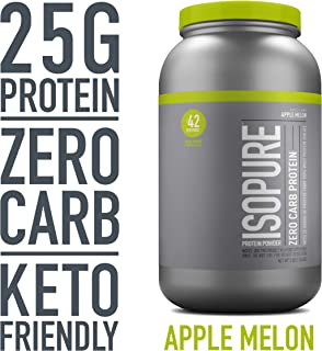 Isopure Zero Carb, Keto Friendly Protein Powder, 100% Whey Protein Isolate, Flavor: Apple Melon, 3 Pounds