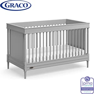 Graco Ashleigh 3-in-1 Convertible Crib (Pebble Gray) - Easily Converts to Toddler Bed and Daybed, 3-Position Adjustable Mattress Height