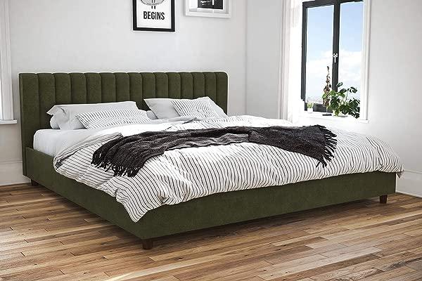Novogratz Brittany Upholstered Platform Bed Frame Green Linen King