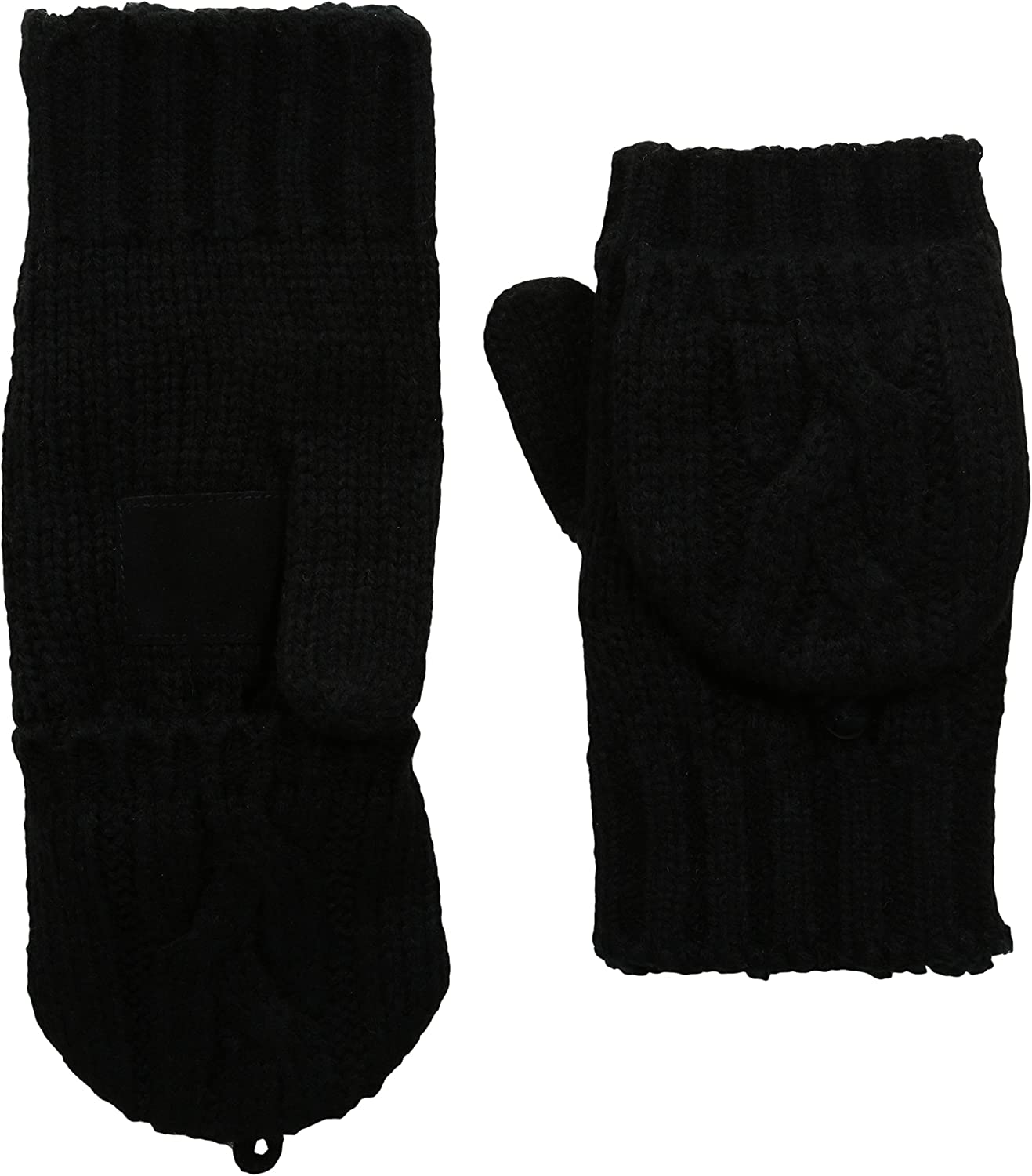 isotoner Women's Chunky Cable Knit Flip Top Convertible Gloves, Cold Weather