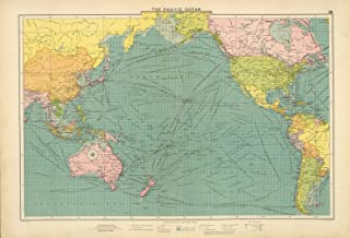 VintPrint Map Poster - Pacific Ocean. - 24