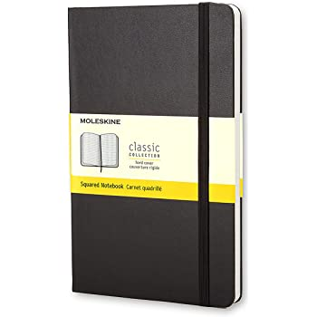 "Moleskine Classic Notebook, Hard Cover, Large (5"" x 8.25"") Squared/Grid, Black, 240 Pages"
