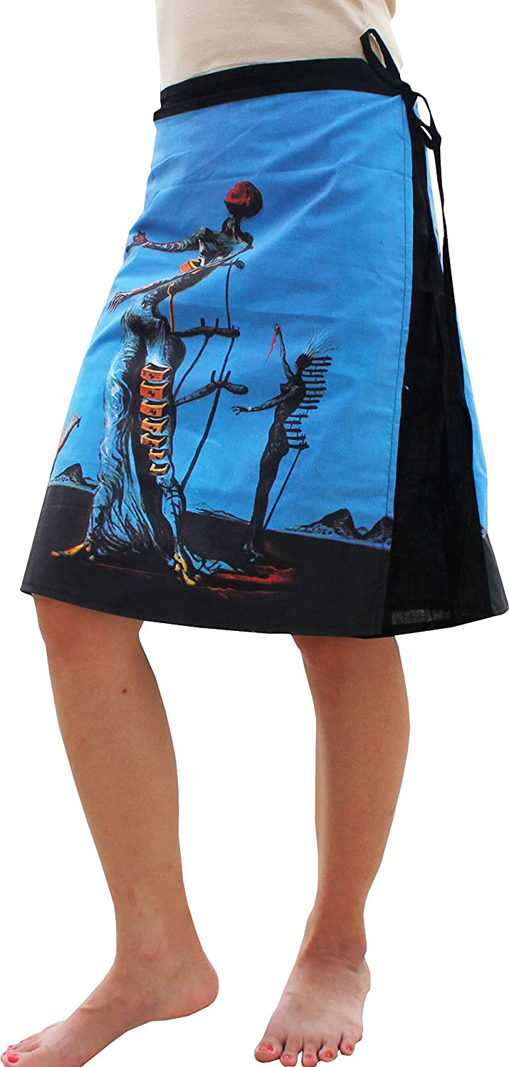 RaanPahMuang Mini Wrap Skirt Salvadore Dali Burning Giraffe Front Back Print