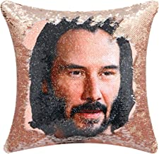 Merrycolor Keanu Reeves Sequin Throw Pillow Cover Mermaid Reversible Flip Sequin Pillow Case Decorative Cushion Cover Funn...