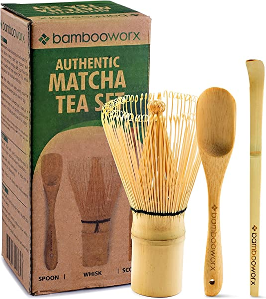 BAMBOOWORX Japanese Tea Set Matcha Whisk Chasen Traditional Scoop Chashaku Tea Spoon The Perfect Set To Prepare A Traditional Cup Of Matcha