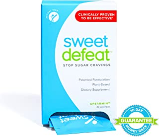 Sweet Defeat - Reduce Sugar Cravings in Seconds, Made with Natural Gymnema Sylvestre Extract That Controls and Reduces Desire for Sweet Food - 30 Lozenges … (Spearmint, 30 Count)