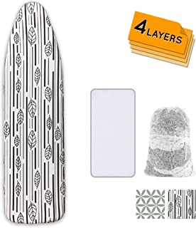Ironing Board Cover and Pad Extra Thick Heavy Duty Padded 4 Layers Non Stick Scorch and Stain Resistant 15x54 and 3 Fasten...