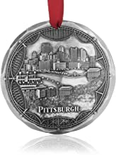 Wendell August Pittsburgh Bridges Ornament - Engraved Aluminum Hand-Carved City Skyline on Pittsburgh's Three Rivers - Made in USA Tree Decoration, 4.3