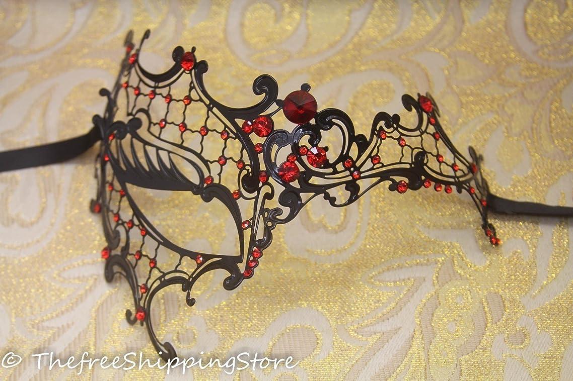 Black Metal Laser Cut Venetian Phantom Mask Masquerade w/ Red Rhinestones
