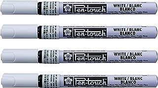 Sakura Pen-Touch permanent paint marker 1.0 mm fine point White color, Pack of 4