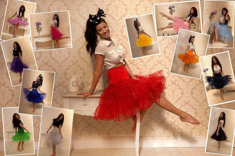 Bbonlinedress Petticoat Unterrock Crinoline Underskirt Reifrock Rock für 50er Vintage Cocktailkleid 01-white+red