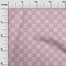 oneOone Velvet Rose Pink Fabric Floral & Tiles Moroccan Quilting Supplies Print Sewing Fabric by The Yard 58 Inch Wide