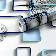 WOW Interiors Blue and White Square PVC SELF Adhesive Wallpaper Peel and Stick Easy to Stick and Kitchen Bedroom LIVINGROO...