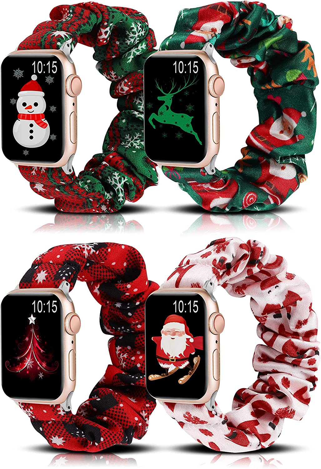 Wearlizer 4 Packs Compatible for Apple Watch Band Scrunchie Christmas Soft Cloth 38mm 42mm Cute Printed Elastic Watch Bands Women Stretchy Bracelet Wristband Strap for Apple iWatch 7/SE/6/5/4/3/2/1…