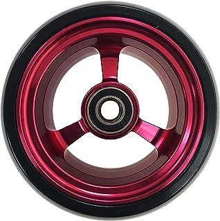 RIANTWHEEL, 3X 1.4 inch, Solid, PU Wheels, Wheelchair Casters, Aluminum Rim, one Pair (RED)
