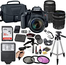 Canon EOS Rebel T7i DSLR Camera with EF-S 18-135mm & 75-300mm III Lens + Deluxe Accessory Bundle Including Sandisk 32GB Card, Camera Case, Flash, Grip Multi Angle Tripod, 50