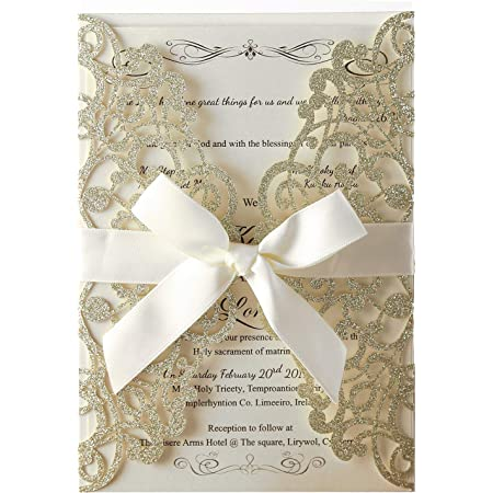 20 Gold Glitter Lace and Teal Floral Twigs Watercolor Laser Cut Pocket Wedding Invitations ANY COLORS