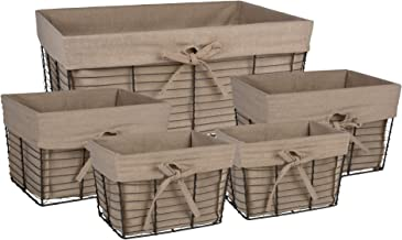 DII Vintage Grey Wire Baskets for Storage Removable Fabric Liner, Assorted Set of 5, Taupe 5 Piece