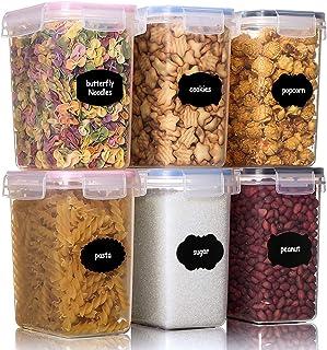 Aitsite 1.6L Vorratsdosen Set, 6 Stück Müsli Schüttdose Frischhaltedosen, BPA frei Kunststoff Vorratsdosen luftdicht,Trockenfutterbehälter, 12 Etiketten für Getreide, Mehl, Zucker usw